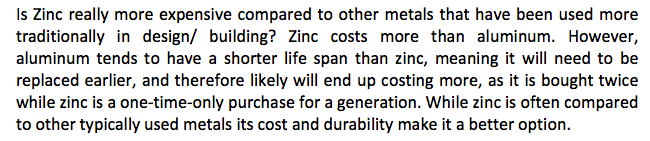 Zinc a better option